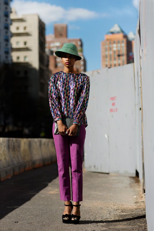 To a T. I want. It all.: Thesartorialist, Italian Vogue, Vogue Paris, Street Style, Purple Pants, Color Combinations, New York, The Sartorialist, Stylish Outfit