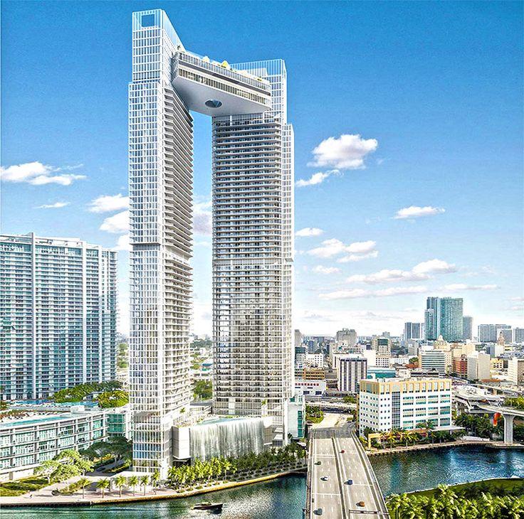 Башни в Майами, небоскребы в Майами, отдых в Майами, Мост между башнями в Майами, в Майами, в США, новая гостиница в Майами