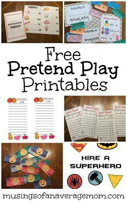 The Ultimate Pinterest Party, Week 182 | Free pretend play printalbes including restaurant, beauty salon, play money, superheros and more!