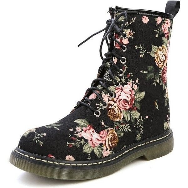Cheap Floral Combat Boots - Boot Ri