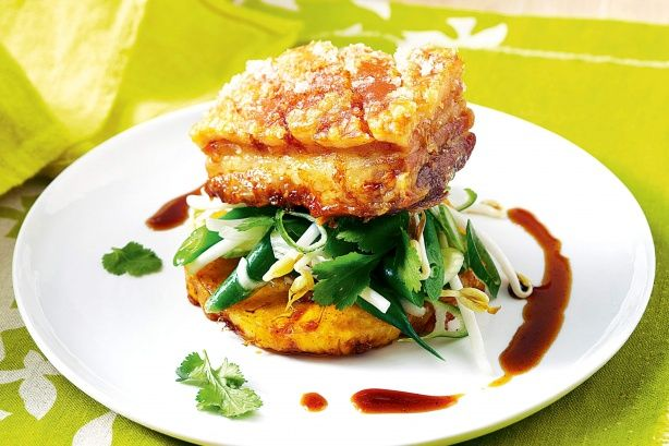 The sweetness of the sauce complements the richness of the pork belly.