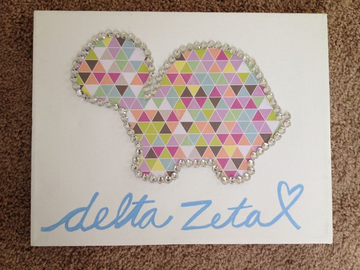 Delta zeta sorority big little turtle canvas