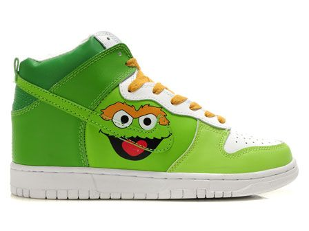 Sesame Street Nike SB Dunk Oscar the Grouch Shoes High Tops For Men