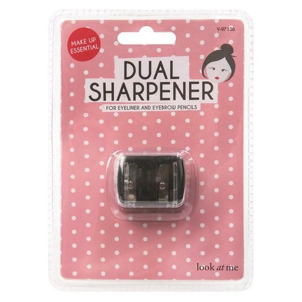 £3 | Dual Makeup Sharpener These Dual Makeup Sharpeners feature two sizes for different thicknesses of pencil and conveniently keeps shavings in a clear plastic cover, so there is no mess!