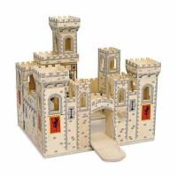 The castle is hinged for easy wide-open, imaginative play and closes conveniently for compact storage.