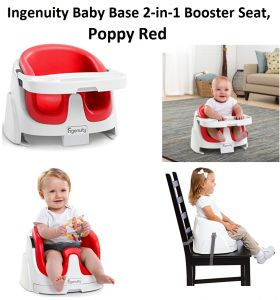 """Check my review on Ingenuity Baby Base 2 in 1 Booster Seat in Poppy Red from baby and toddler on high chair booster seats, a """"grow with baby"""" booster chair."""