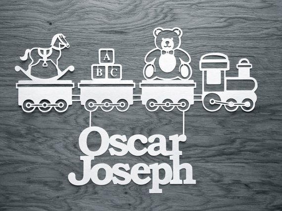 Childrens Train Papercut TEMPLATE  'Toy Train' Papercutting Design by TommyandTillyDesign
