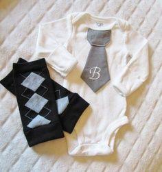 Newborn baby boy tie onesie/bodysuit and leg warmer by mmhandmades | best stuff