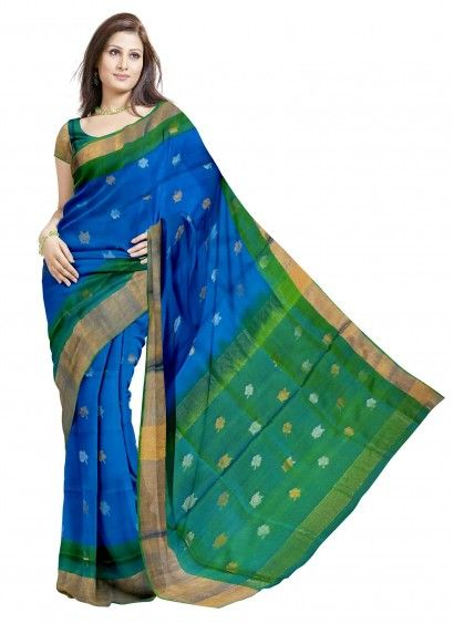 Ananda Blue Uppada Handloom Silk Saree & Blouse Product code: UHSUP8S054 Retail price: 5,798/- Sale price : 5,522/-