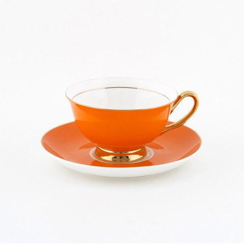 #Orange #250mL #Teacup and #Saucer #Set | The #elegant, #stylish teacup. #Mix'n'match with our other #colours! Get inspired at lyndalt.com