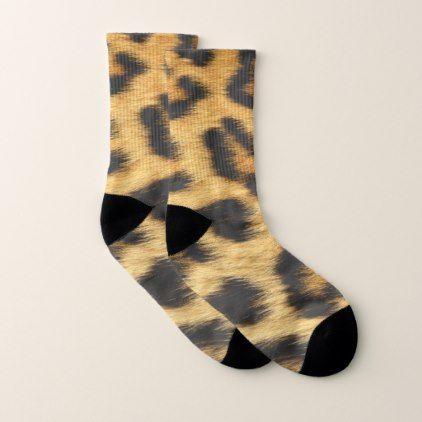 Leopard Skin Animal Print Socks - patterns pattern special unique design gift idea diy