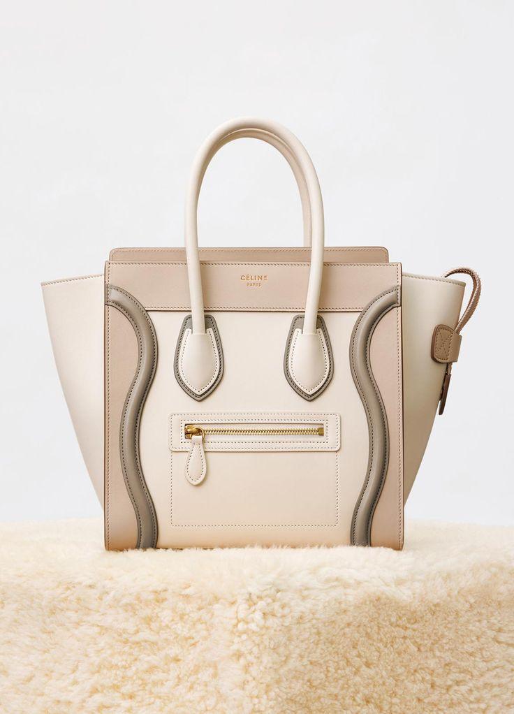 Celine Natural Multicolor Shiny Smooth Calfskin Micro Luggage Bag