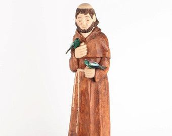 St. Francis of Assisi  St Francis Statue Wood carving  Hand Carved Sculpture Wooden Sculpture Sacral Figure, ready to go