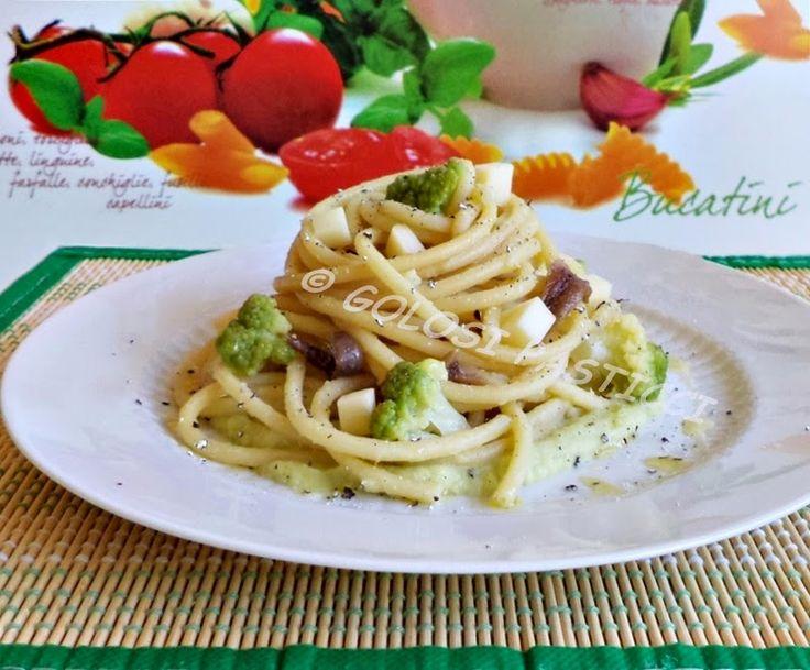 Pasta+con+crema+di+broccolo,+acciughe+e+scamorza+affumicata
