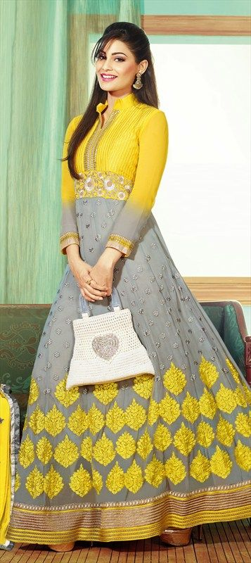 403075, Anarkali Suits, Faux Georgette, Border, Thread, Machine Embroidery, Resham, Black and Grey, Yellow Color Family