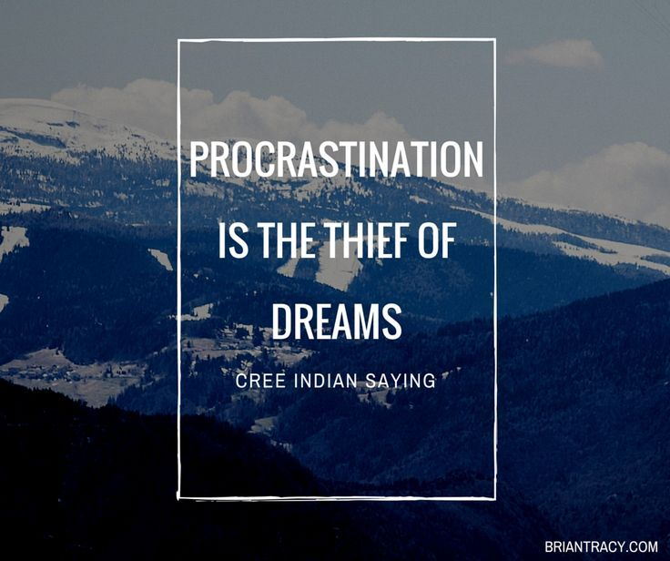Procrastination is the thief of dreams.