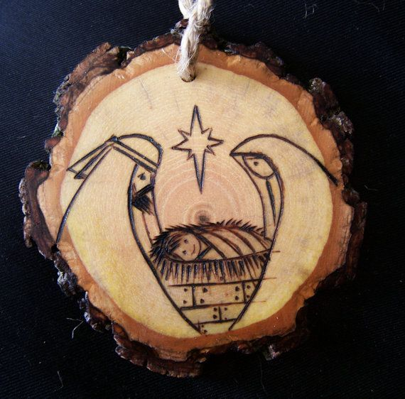 nativity ornaments homemade | Wood slice Ornament by littlesisterscrafts on Etsy
