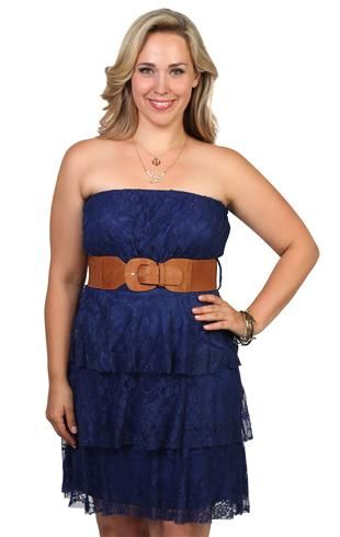 Plus Size Lace Peasant Dress with Ruffle Tiers and Belted Waist. This with him in his dress whites <3