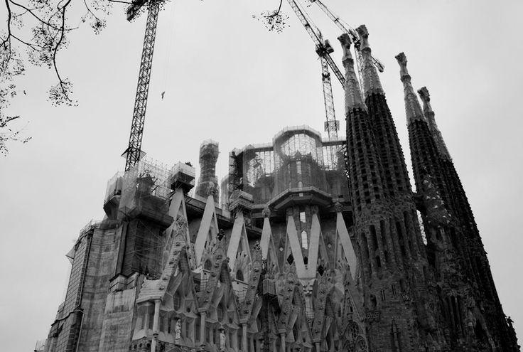 The Basilica of the Sagrada Familia in Barcelona, Spain.