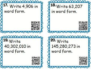 QR Task Cards for Place Value: word form, standard form, expanded form (with & without powers of 10 notation)