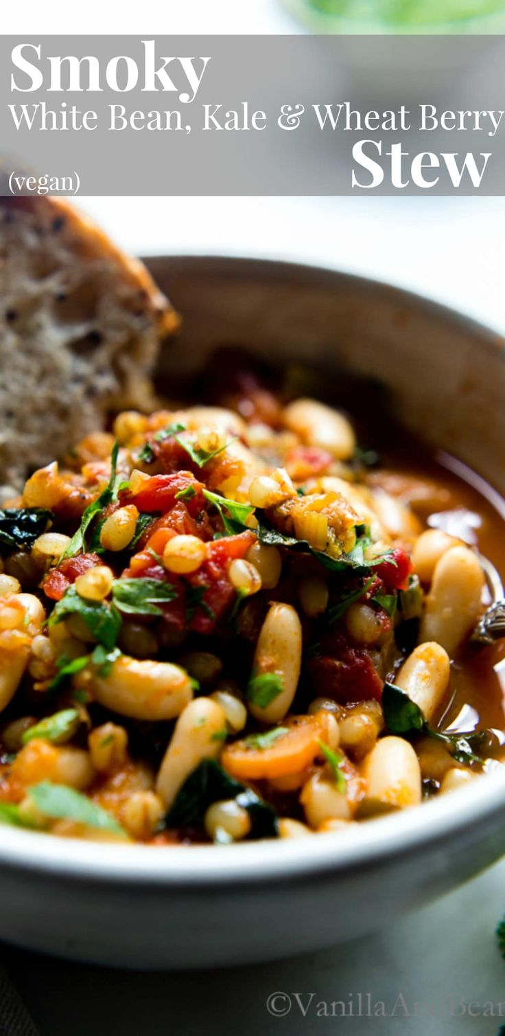 Packed with earthy flavors, texture rich Smoky White Bean Kale and Wheat Berry Stew is quick to pull together with a long, slow simmer. Vegan