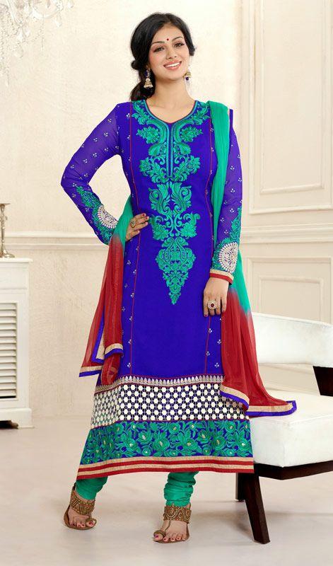 Bollywood Star Ayesha Takia Georgette Long Churidar Kameez