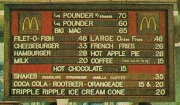 mcdees menu in 1972. basic. cheap. exactly what i need in my life.