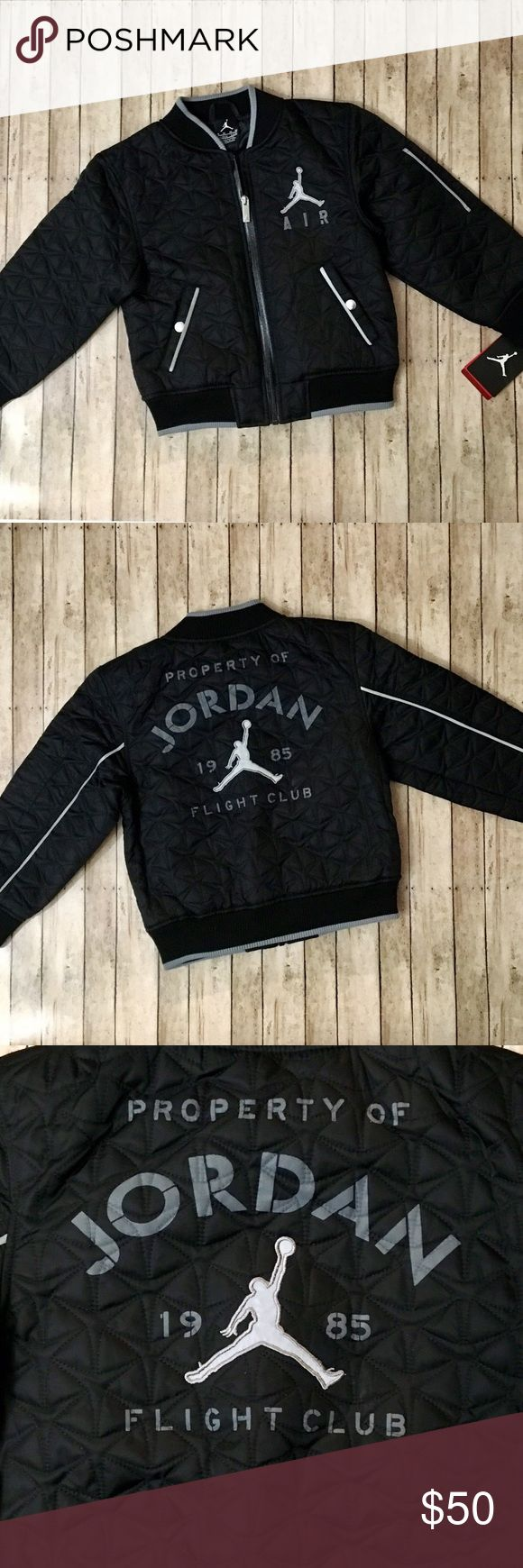 "NWT Nike Air Jordan Flight Club Bomber Jacket - NWT - Size 6 - Nike Air Jordan - Quilt-like design - Pockets on both sides in front - Black - Tag says fit is for 110-116cm, 5-6 years, 6 M - Shell: 100% nylon, Lining: 100% polyester - Length measures approx. 18"" - Nike Jackets & Coats"