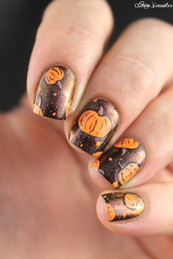 Halloween #2 - Citrouilles ! (Coco's nails) | Thanksgiving ...