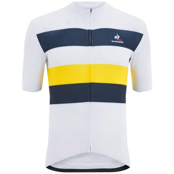 Le Coq Sportif Short Sleeve Cycling Jersey Classic 2 In White Blue And Yellow Roupas Esportivas Esportes Roupas