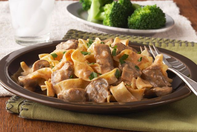 Your slow cooker does the heavy lifting in this classic beef stroganoff. Just prep some pasta while the beef, garlic, onions and mushrooms simmer away.