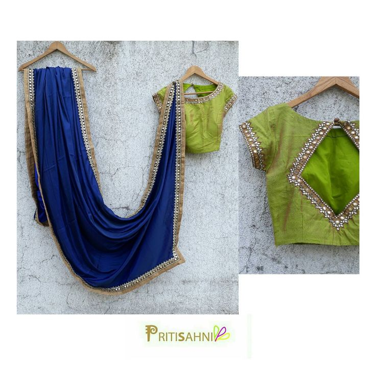 Cool color palette in hot summer Midnight blue saree paired with a contemporary olive blouse with kundan and mirror handworkFor more information  write to info@pritisahni.com  17 April 2017
