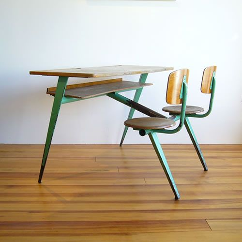 Two-seater desk. Jean Prouve, 1952.