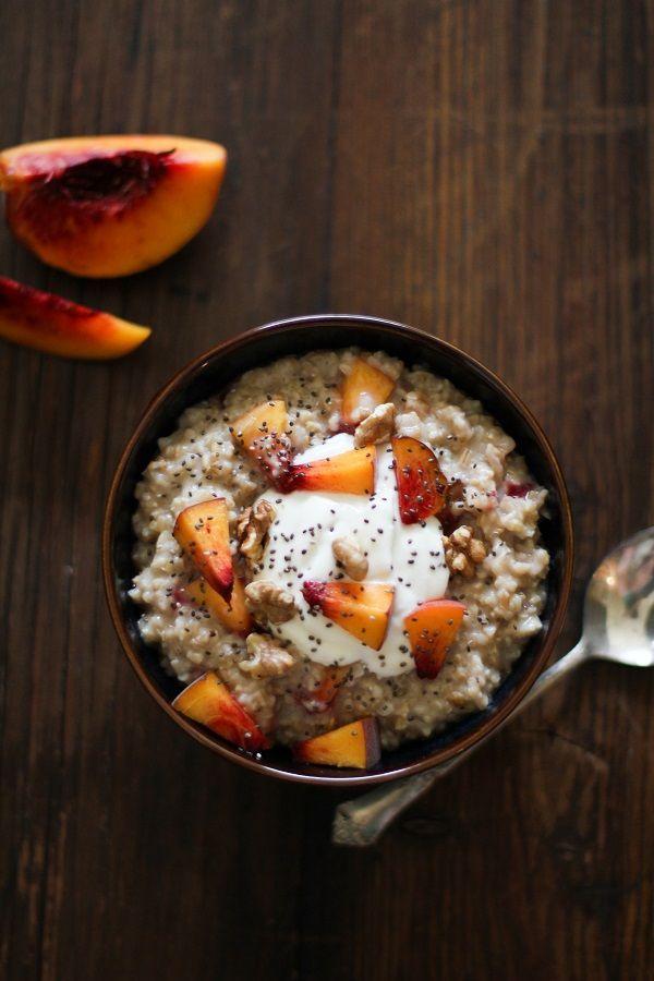Maple Walnut Steel Cut Oatmeal with Yogurt, Peaches, and Chia Seeds