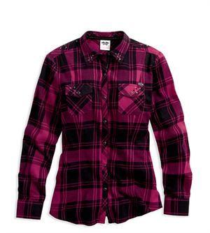 Harley-Davidson® Women's Embellished Plaid Flannel Shirt 96063-14VW