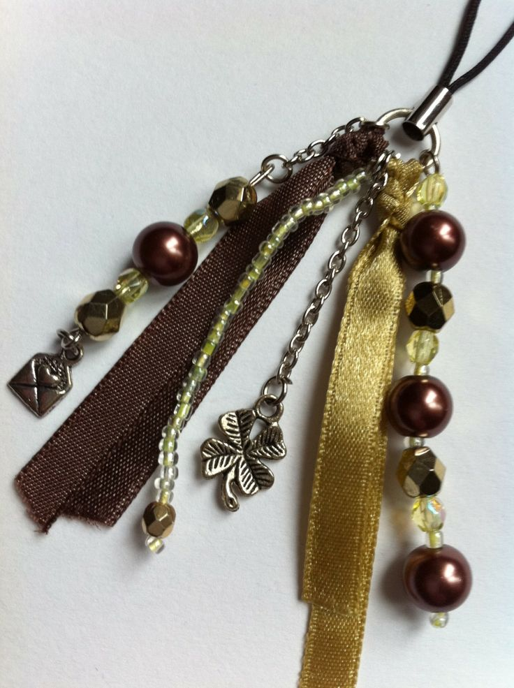 Bijou de portable, clé USB: avec perles, charms, ruban, marron, gold Métal argenté Marron : Autres bijoux par hopes-dreams