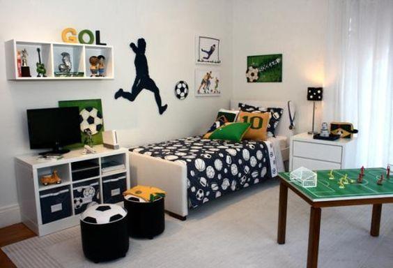 Dormitorios decorados temática fútbol : ¡Vamos a inspirarnos con estos bonitos dormitorios decorados temática fútbol! Porque este deporte es la estrella de todos los deportes. A todos los niños l