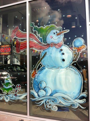 Hand Drawn Window Paintings, Christmas Window Painting, Seasonal Window Painting, Custom Window Art | Graphic Garden