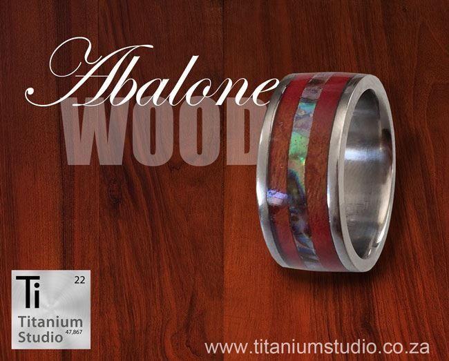 Wood and abalone titanium ring
