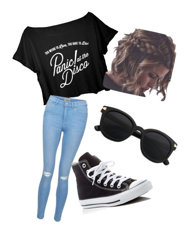 """""""Panic At The Disco Concert"""" by emily24-i ❤ liked on Polyvore featuring New Look and Converse"""