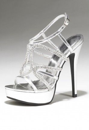 Camille La Vie Silver Platform Heels with Rhinestones - perfect for Prom