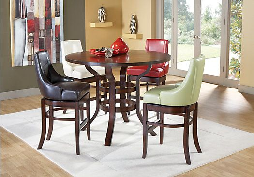 the alder pub height dining set provides a tasteful gathering