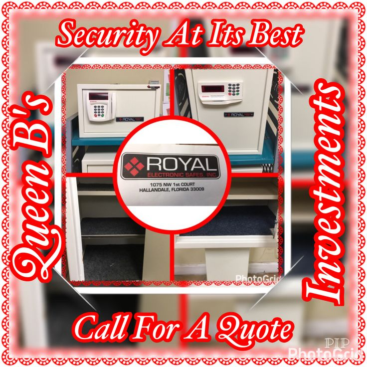 GET SECURITY AT ITS BEST BY CALLING Royal Electronic Safes ASAP!!!! THIS IS A QUEEN B's INVESTMENTS PROMOTION!!!! THEIR SAFES INCLUDE ADVANCED FEATURES, ARE CUSTOM MADE, AND CAN WITHSTAND ANY BREAK IN ATTEMPT!!! IF YOU ARE INTERESTED CALL 9544578815 AND ASK DAVID FOR AN AFFORDABLE QUOTE!!!!