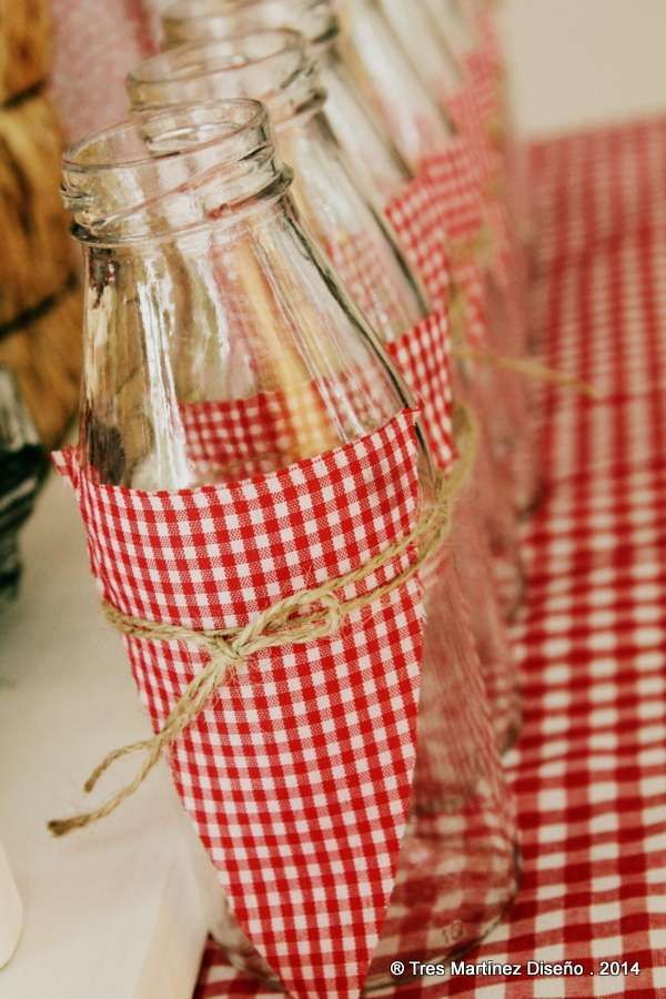 Picnic birthday party decorated drinks!  See more party planning ideas at CatchMyParty.com!