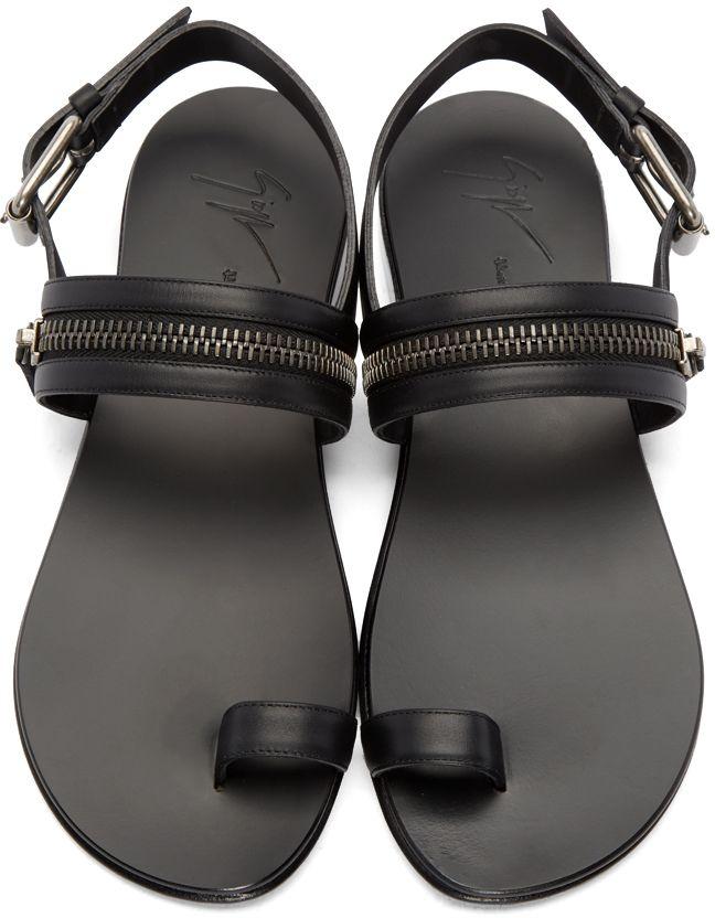 e7a3d0379 Giuseppe Zanotti  Black Leather Zipper Sandals
