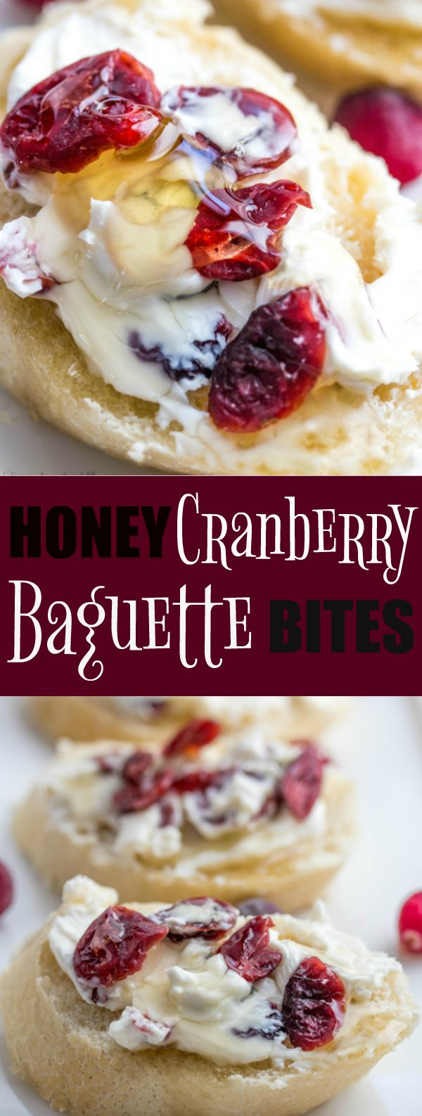 Honey Cranberry Baguette Bites are a quick easy appetizer that is equally tasty!