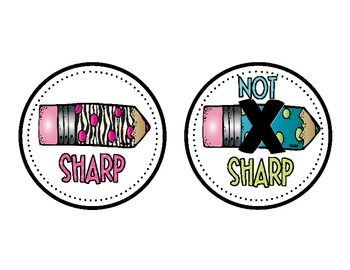 FREE - Cute Pencil Labels. Attach to cans for pencils that need to be sharpened or are sharp.