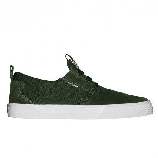 SUPRA Flow chaussures de skate dark green / white 79,00 € #skate #skateboard…