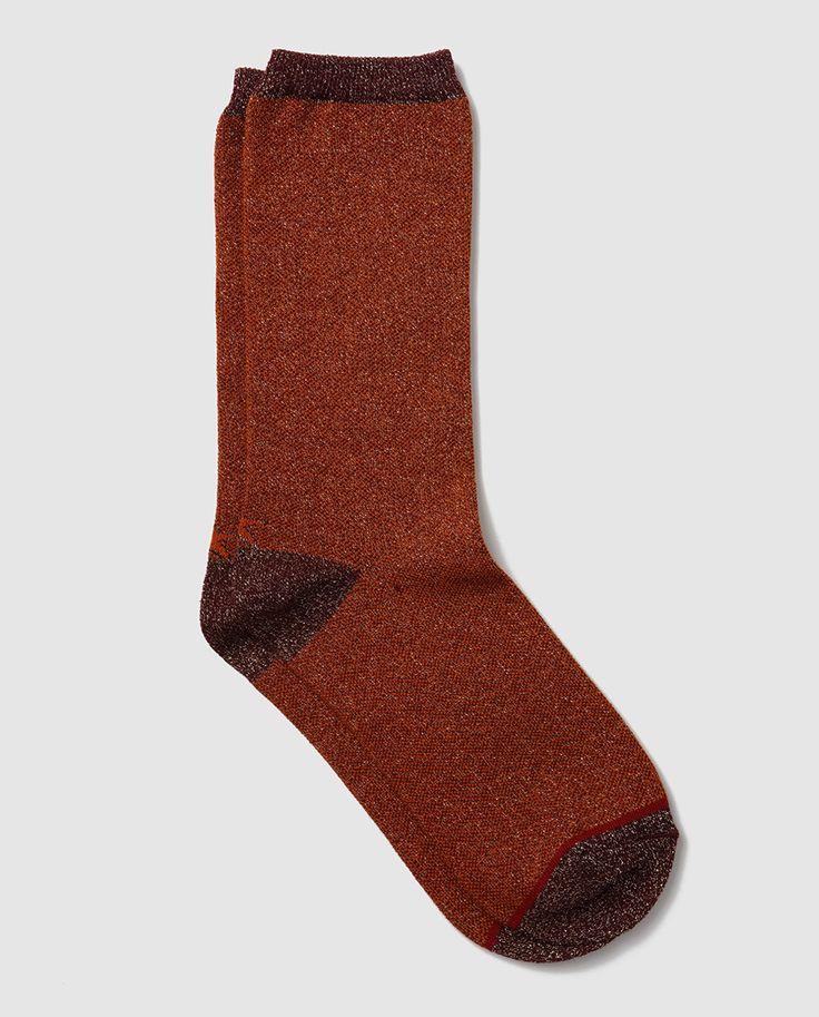 'Socks' · 'Calcetín' de mujer de algodón con lúrex -de HOP SOCKS- | Calcetín de algodón y lúrex, realizado en punto de arróz, con caña elástica, puntera y talón a contraste || El Corte Inglés