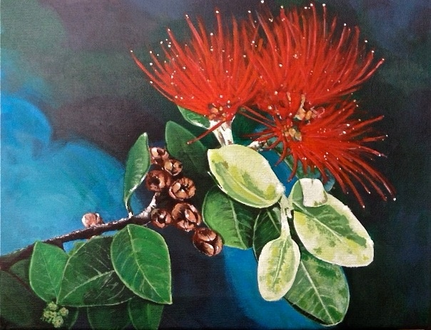 Pohutukawa flower. Painting by artist John Bills..... The New Zealand Christmas tree.